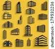 Buildings flat design web icons set with long shadows. template for design. raster version - stock photo