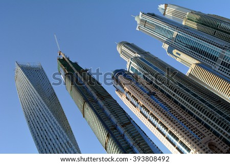 Buildings from Dubai Marina skyline. UAE. - stock photo