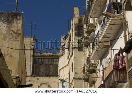 Buildings from Old Jewish Quarter in Fes, Morocco