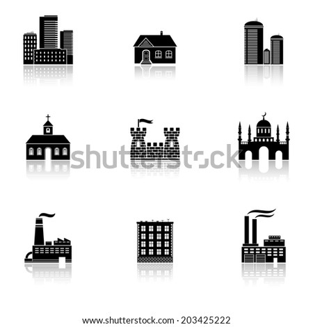 Buildings icons with reflection - stock photo