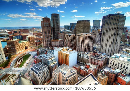 Buildings in downtown Boston Massachusetts - stock photo