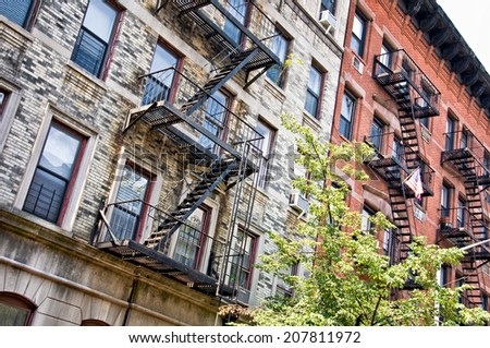 Buildings in Greenwich Village, New York, USA - stock photo