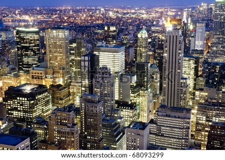 Buildings in Midwtown Manhattan light up after sunset