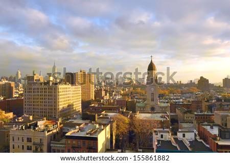 Buildings in New York City, Morning in Manhattan - stock photo