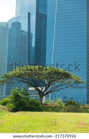 Buildings in Singapore city skyline - stock photo