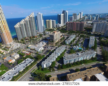Buildings in Sunny Isles aerial photo. Please visit my video gallery for great aerial videos of Sunny Isles and more.  - stock photo