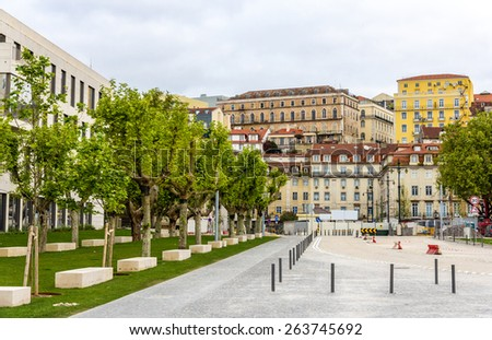 Buildings in the city center of Lisbon - Portugal - stock photo