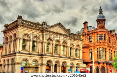 Buildings in the city centre of Belfast - Northern Ireland - stock photo