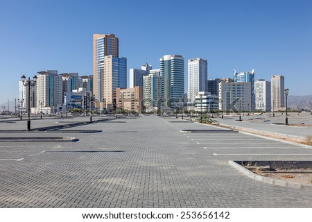 Buildings in the city of Fujairah, United Arab Emirates - stock photo