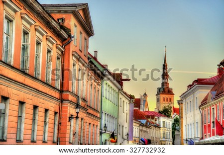 Buildings in the historic centre of Tallinn, Estonia - stock photo