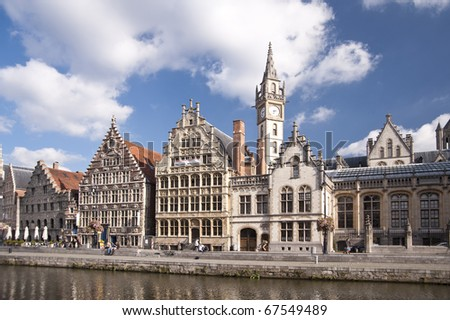 buildings in the old town of ghent, belgium