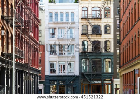 Buildings in the Soho neighborhood of Manhattan, New York City - stock photo