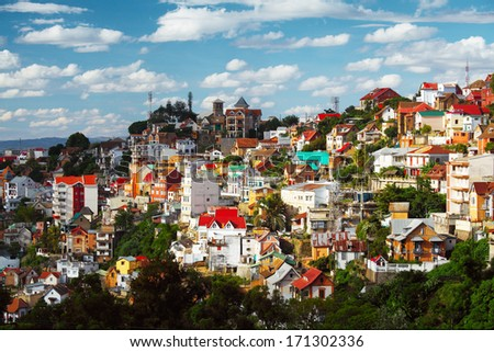 Buildings of a city of Antananarivo in sunny day. Madagascar - stock photo
