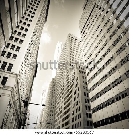 Buildings of a City Skyline, vintage monochrome - stock photo
