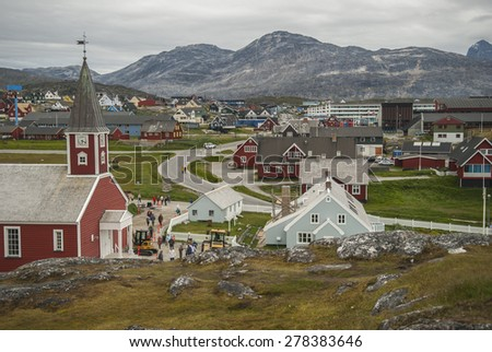 Buildings of Nuuk, the Capital of Greenland - stock photo