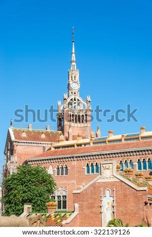 Buildings of the Hospital of the Holy Cross and Saint Paul, Hospital de la Santa Creu i Sant Pau. The famous building, designed in the catalan modernisme, is a UNESCO World Heritage Site - stock photo