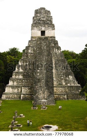 Buildings of the mayan culture in Tikal, Guatemala: Grand Jaguar temple (Temple No. 1)