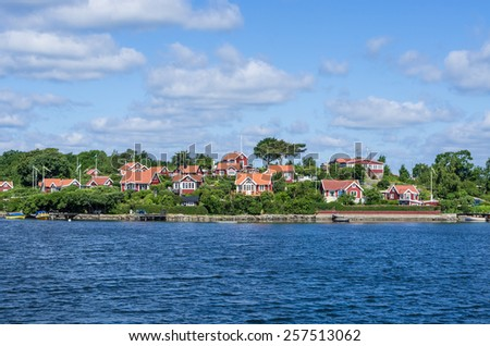 Buildings on an island in the archipelago of Karlskrona in Sweden.