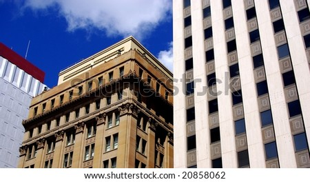 Buildings on King William Street in Central Adelaide. - stock photo