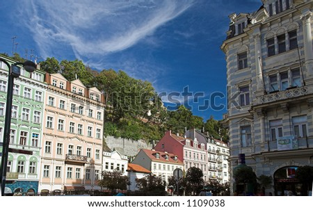 Buildings on main street of Carlsbad (Karlovy Vary), Czech Republic - stock photo