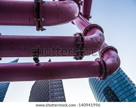 buildings on potsdamer platz berlin - stock photo