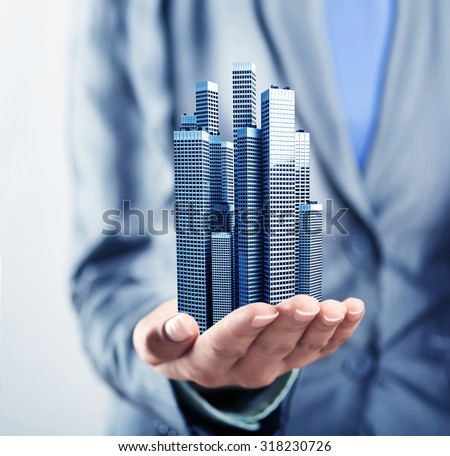 Buildings on the palm - stock photo