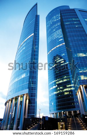 Buildings on the streets of Moscow in Russia