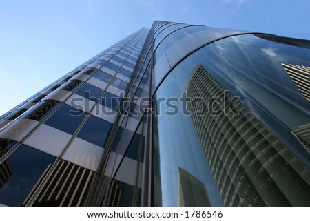 Buildings reflections in San Francisco Financial District. - stock photo