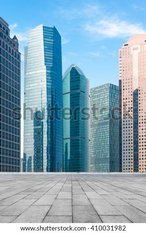 buildings standing under blue sky,shanghai china. - stock photo