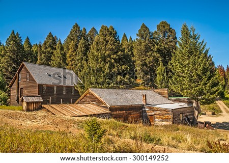 Buildings that have been preserved to save the history of a mining town in the mountains of Montana - stock photo