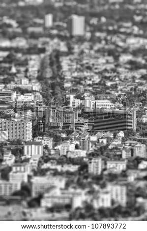 Buildings tilt-shift : black and white style - stock photo