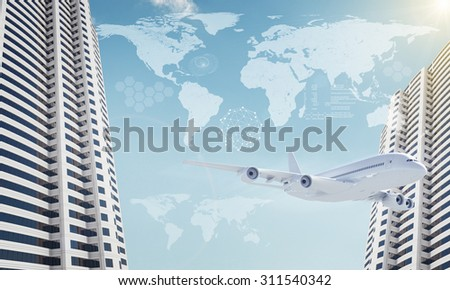 Buildings with world map and jet on blue sky background