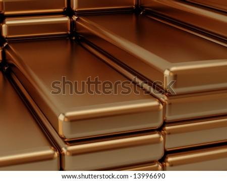 built golden bullions - stock photo