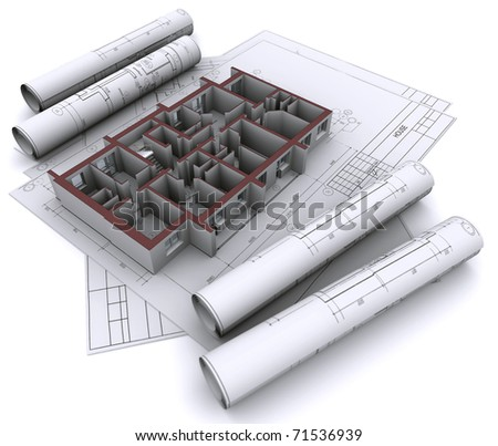 built walls of a house on construction drawings - stock photo