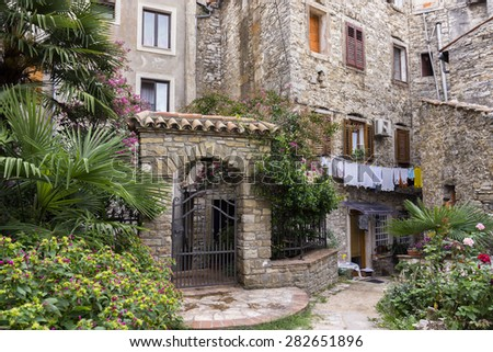 Buje, Croatia - August 19, 2014: Street view in Buje, a town situated in Istria, Croatia.