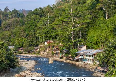 Bukit lawang village, Sumatra, Indonesia - stock photo
