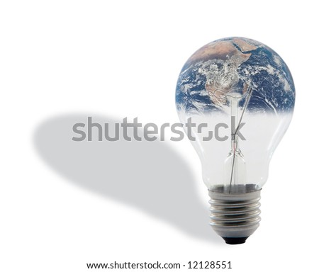 bulb and earth with shadow isolated on white background with clipping path around the bulb energy and environmental concepts (image of earth is  from NASA library) - stock photo