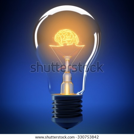 Bulb filament that forms a small brain - stock photo
