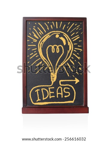 Bulb Ideas written on chalkboard object isolated white background - stock photo
