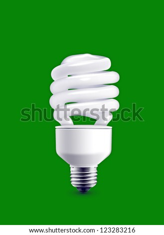 bulb isolated on green background