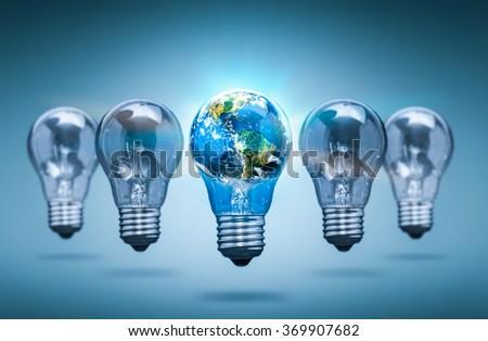 Bulb Light Earth Global World Ecology - Stock Image - stock photo