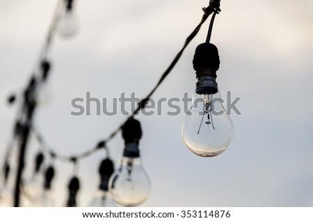 bulb light hanging and blurred background