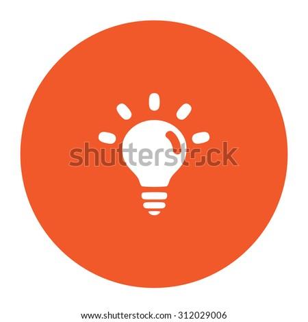 BULB. Simple flat white icon in the orange circle. illustration symbol - stock photo
