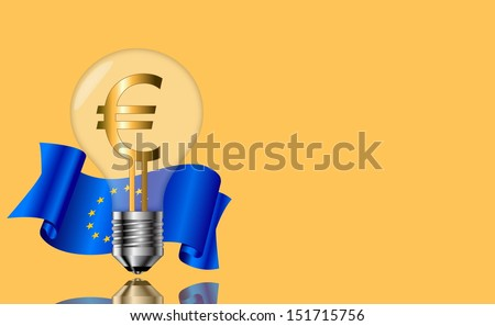 Bulb with a symbol for the euro on a yellow background. - stock photo