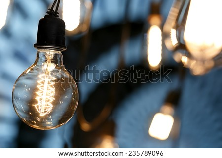 Bulb with bokehs in festival - stock photo