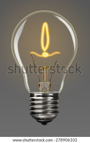 bulb with glowing exclamation mark inside of it, creativity concept - stock photo