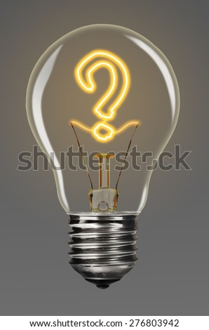 bulb with glowing question mark inside of it, creativity concept - stock photo