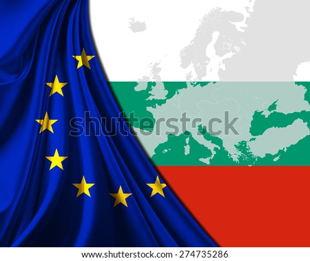 Bulgaria and European Union Flag with Europe map background - stock photo
