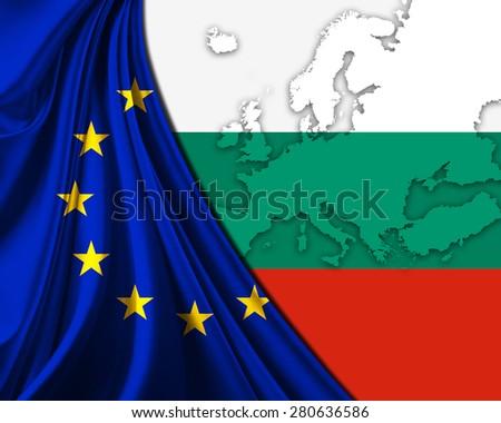 Bulgaria and European Union Flag with Europe map background - stock photo