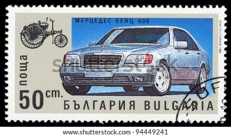 BULGARIA - CIRCA 1992: A stamp printed in Bulgaria shows Mercedes 600, circa 1992 - stock photo